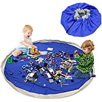 Bolsa de Almacenamiento de Juguetes para niños, Alfombra de Juego BELLESTYLE Organizer para juegos de niños, Juguetes de Niños una Limpieza más Rápida (Azul Profundo, 150 cm)