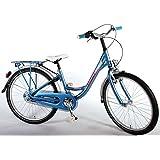Bicicleta de niño de 24 pulgadas 8 9 10 años Shimano de 3 velocidades con portabultos trasero azul