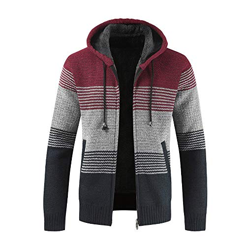 MAYOGO Strickjacke Cardigan Hoodie Zipper Elegant für Männer, Vlies Knitted Sweatshirt Herren Winter mit Fell Warm Gefüttert,Sweatjacke Freizeit Outwear Pullover Sweater (Rot, Large)