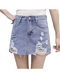 Damen Jeansrock Vintage Fashion Elegant Casual Zerissen Löcher High Cute  Chic Waist A Linie Röcke Minirock 4d1221baa0