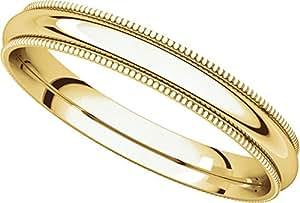 9ct Yellow Gold, Comfort Milgrain Wedding Band 3MM (sz H)
