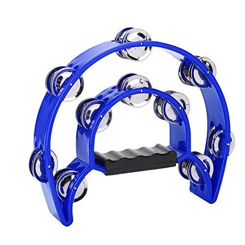 Alomejor Tambourin Halbmond Hand Tamburin Zweireihiges Jingles Tamburin für Musiker Sänger Musikunterricht Bands(Blau)
