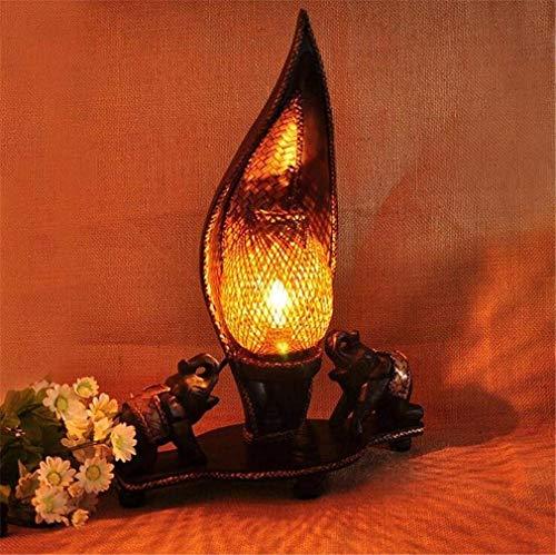 Lámpara de mesa del estilo del sudeste asiático Iluminación creativa tailandesa Tejer Dormitorio del hotel Vela de madera Vela pequeña Elefante Ahorro de energía decorativo ( Color : - , tamaño : - )