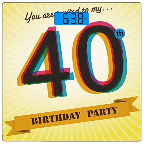 Precision Digital Body Weight Scale 40. Geburtstag Dekorationen Ultra Slim Gehärtetes Glas Personenwaage Genaue Gewichtsmessungen, Vintage Grafik Banner Party Einladung Thema Optisch gestreift, Multic