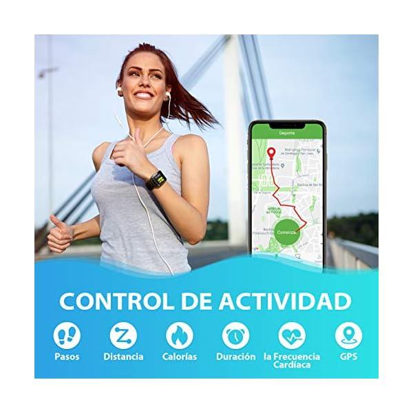 Seneo Reloj Inteligente Hombre, Reloj de Seguimiento de Actividad, Podómetro Deportivo con Monitor de Ritmo Cardíaco Monitor de Sueño para Teléfonos Inteligentes Android o iOS 5