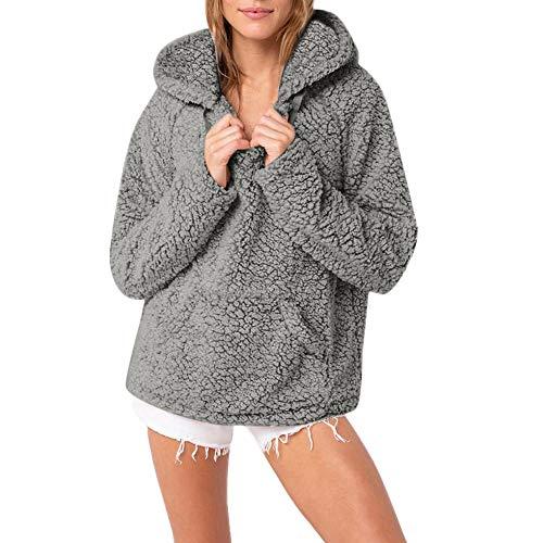 TianWlio Damen Hoodie Frauen Langarm Hoodie Übergröße Lässige Tops mit Kapuze Parka Outwear Strickjacke Bluse Pullover
