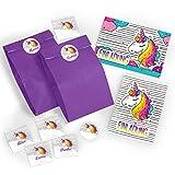 12 Einladungskarten zum Kindergeburtstag für Mädchen Einhorn incl. Umschläge, Tüten, Aufkleber / Unicorn / bunte Geburtstagseinladungen (12 Karten + 12 Umschläge + 12 Party-Tüten + 12 Aufkleber)