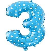 Cotigo– Globo de Aluminio Número 3 del Color Azul para Las Fuentes de la Fiesta del Cumpleaños 45cm 1pcs