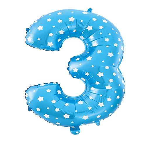MC-Globo Gigante Número 3 DE Foil Color Azul con Estrella para Fiestas de Cumpleaños 65cm