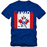 Canada Eishockey #4 Premium T-Shirt Kanada Flagge Eis-Hockey-Spieler Herren Shirt, Farbe:Blau (Royalblue L190);Größe:L