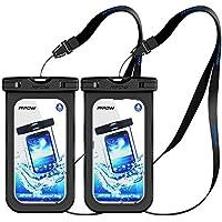 Mpow [2 Pezzi] Custodia Impermeabile Cellulare, [Garanzia a Vita] IPX8 Impermeabile Smartphone, Borsa Impermeabile Compatibile con Iphone 7/7 Plus Tasto Home per Iphone,Huawei,Samsung,Sony(Nero)