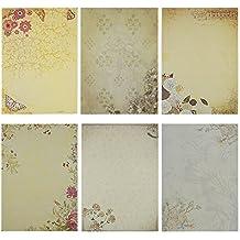 Rancco® 60 Stück Briefpapier Kraft Motivpapier Sortierte Farben Schreibens Papier, Zeichnung Sketch Pads (6 Modelle, 10 Blatt pro Modell)