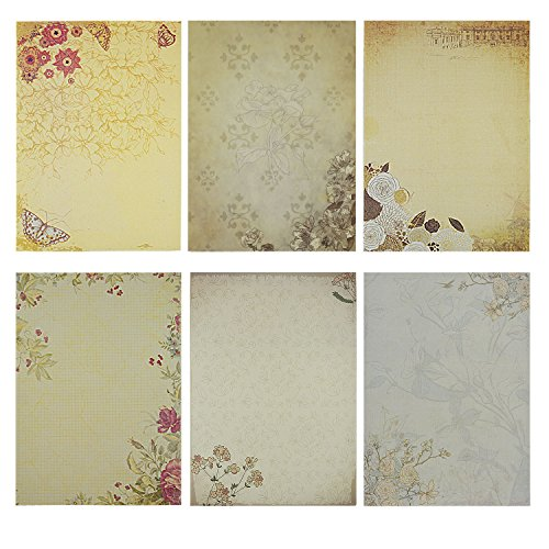 Rancco 60 Pcs Papeterie d'écriture Papier / Letter Paper Sets, Classic Vintage Papier à lettre de conception, Dessin Dessine des Pads, Imprimable (6 modèles, 10 feuilles par modèle)