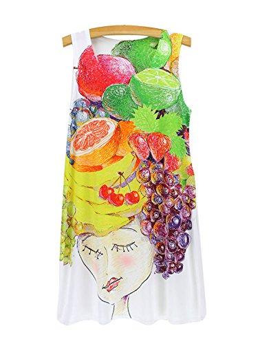 YueLian Donna Stampato Lungo Canotte Vestito Mini Estivo Ragazza frutta