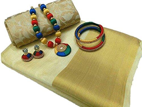 Fabattic Women's Tassar Silk Saree With Blouse Piece (Chi150, Cream Free Size)