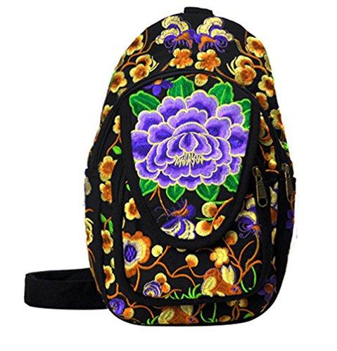 YAANCUN Zaino Donna Tela Zaino Ricamo Stampa Scuola Borsa Sacca Sportiva Viaggio Scuola Ragazze Backpack Zainetto Come l'immagine#7