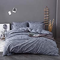 DEALS FOR LESS - King Size, Duvet Cover, Bedding Set of 6 Pieces, Grey Leaves Design