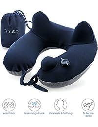 Ymiko Almohada Inflable para el Cuello, Almohadas de Aire de Viaje, Se adhiere al equipaje, Extraíble y Lavable para el Avión, Tren