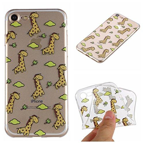 iPhone 7/iPhone 8 Hülle, Voguecase Silikon Schutzhülle / Case / Cover / Hülle / TPU Gel Skin Handyhülle Premium Kratzfest TPU Durchsichtige Schutzhülle für Apple iPhone 7/iPhone 8 4.7(Unicorn 03) + Gr Giraffe 01