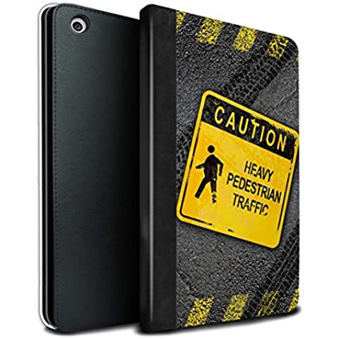 STUFF4 PU Pelle Custodia/Cover/Caso Libro per Apple iPad Mini 1/2/3 tablet / Pesante Pedonale / Cartelli Stradali Divertenti disegno