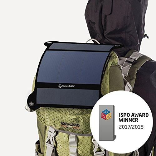 SunnyBAG Leaf+ Edition 2018 - Premium Outdoor Solar Ladegerät für Handy, Tablet, Laptop UVM. inkl. 6.000 mAh PowerBank - Das weltweit leichteste und stärkste Solarpanel - 3