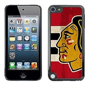 CASER CASES / Apple iPod Touch 5 / Chicago Blackhawk Hockey / Mince Noir plastique couverture Shell Armure Coque Coq Cas Etui Housse Case Cover