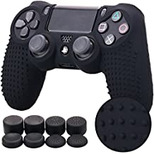 Pandaren BORCHIE Silicone Custodie Cover Pelle Antiscivolo per PS4 Controller x 1 (Nero) + FPS PRO Thumb Grips Pollice Prese x 8