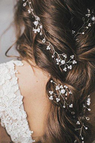 Jovono Strassbesatz Langes Haar Vine Brautschmuck Haarschmuck Schmuck Haar Zubehör Hochzeit Kopfband für Braut und Brautjungfer (Silber Farbe)
