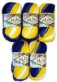 5 x 100 Gramm Alize Burcum Batik Wolle blau gelb weiß mit Farbverlauf, Nr.4430, 500 Gramm Strickwolle