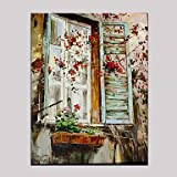 """Pintada a mano Naturaleza muerta Horizontal,Mediterráneo Estilo europeo Un Panel Lienzos Pintura al óleo pintada a colgar For Decoración , 24"""" x 36"""""""
