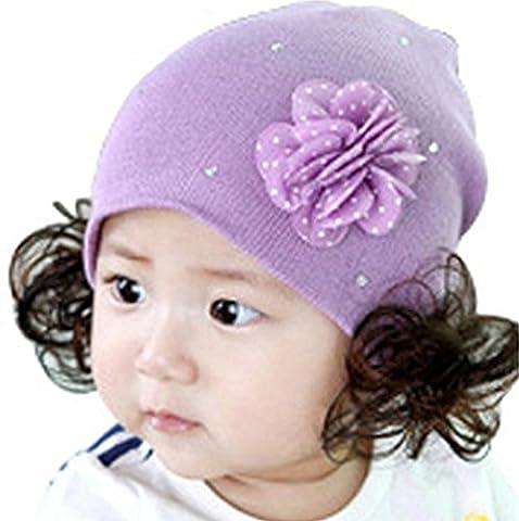 Calcifer® New Cute Stricken Dehnbar Newborn Baby Mädchen Jungen Mützen Kappen mit Haarschleifen (Newborn Baby-kappe)