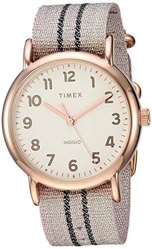 Strap Womens Slip (Timex Women's TW2R92100 Weekender 38 Metallic Blush/Graphite Stripe Fabric Slip-Thru Strap Watch)