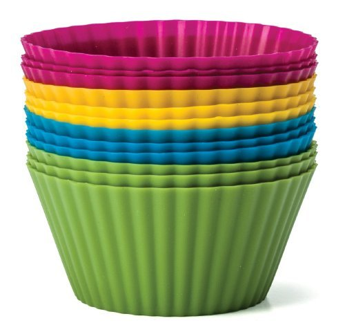 (Baking Essentials Silicone Baking Cups, Set of 12 Reusable Cupcake Liners in Four Colors - USE for Muffin, Gelatin, Snacks, Frozen Treats, Ice Cream or Chocolate Shell-lined Dessert Molds, Non-stick (1) by Zaza Kitchen by Zaza Kitchen)