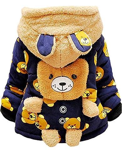 Tkria Manteau Hiver pour Bébé Garçon à Capuche Blouson Epaisse Chaud Hoodies Ours Veste Enfant 0-3 Ans