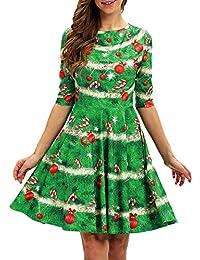 Damen Langarm Weihnachts elemente Drucken Retro großes Kleid Rundhals  Minirock YunYoud partykleider elegante winterkleider damenkleider damenröcke 3b4e906a83