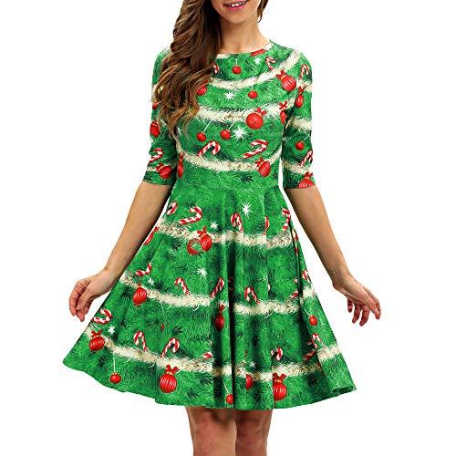 BBestseller Moda Casual Gato de la Navidad Imprimiendo de Vestidos Blusas de Fiesta Vestir Faldas Bodas Party Vestido Retro Grande Dress
