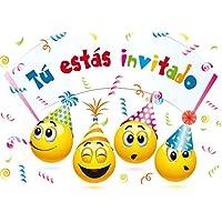 """Edition Colibri 10 Invitaciones en español """"Smilies"""": Juego DE 10 Invitaciones graciosas Tipo Smiley para el Cumpleaños Infantil (10719 ES)"""