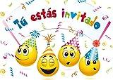 """10 Invitaciones """"SMILIES"""": Juego de 10 invitaciones graciosas tipo smiley para el cumpleaños infantil de EDITION COLIBRI (10719 ES)"""