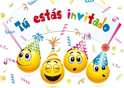 """Edition Colibri 10 Invitaciones cumpleaños Infantil en español """"EMOTICONOS"""": Juego ..."""