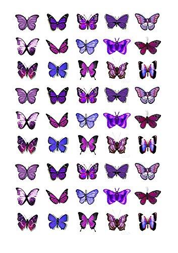 e Lila Schmetterlingskuchen Topper (Tortenaufleger, Bedruckte Oblaten, Oblatenaufleger) ()