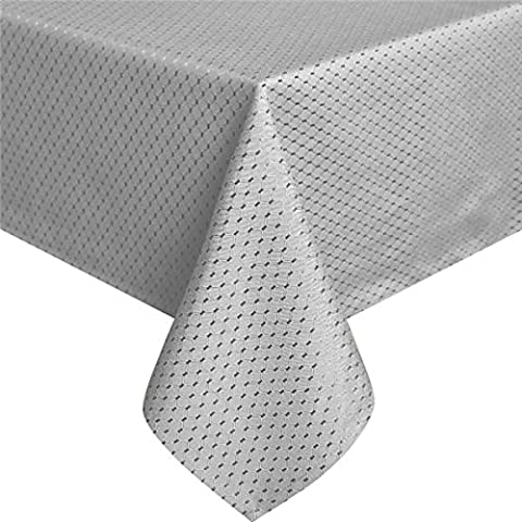 Eurcross Waffle Patterned Grey Tablecloth Wipe Clean, Oil Proof Washable Fabric Geometric Tablecloth Rectangular Dining Table, 150 x
