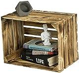 LAUBLUST Große Vintage Holzkiste - 40x30x25cm, Geflammt, Unbenutzt | Möbel-Kiste | Wein-Kiste | Obst-Kiste | Apfel-Kiste | Deko-Kiste aus Holz