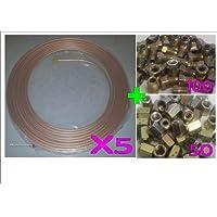 "5rollos de tubo de freno de cobre 3/16""25ft 7,5m 22G con 100macho & 50hembra sindicatos"