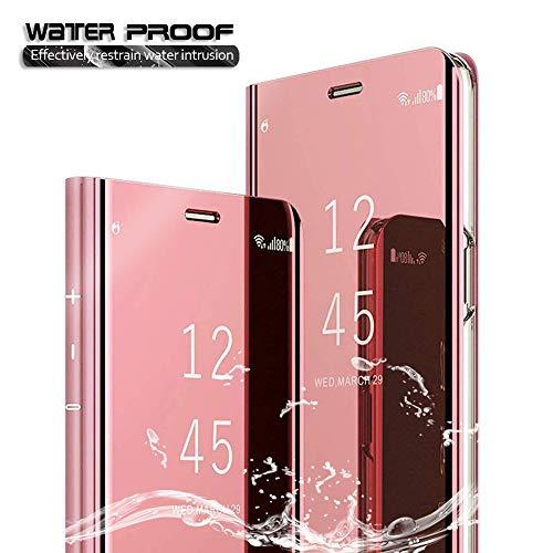 ANWEN Für Samsung Galaxy A50 Hülle,[Ständer] Luxury Spiegel Schutzhülle Clear View Mirror Case Protective Flip Für Samsung Galaxy A50-Schwarz