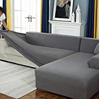 L Shape Sofa Covers Sectional Sofa Covers,Corn Kernel Material,1/2/3/4 Seats(L Type Sofa Needs To Buy Two Sofa Covers) (Light Gray,3 seats)