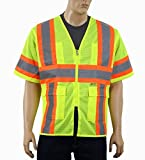 Safety Depot Class 3 ANSI Safety Vest Two Tone High Visibility With Pockets