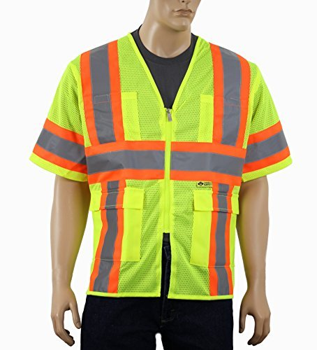985ae3be9d1 Safety Depot Class 3 ANSI Safety Vest Two Tone High Visibility With Pockets  and Zipper Closure