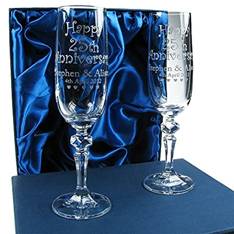25th Wedding Anniversary Gift, Personalised Anniversary Champagne Flutes, 24% Lead