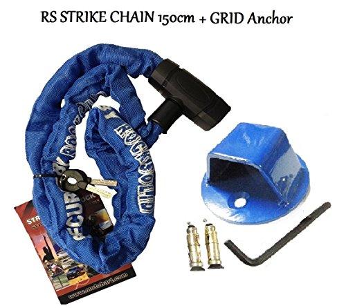 Moto RS de frappe 1,5 m Chaîne antivol pour moto XTRM avec grille en acier très résistant d'ancrage au sol