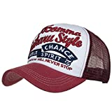 Laisla fashion Frauen Mode Frauen Männer Nner Mesh Cap Verstellbar Baseball Cap Classic Baseballkappe Outdoor Coole Kappen Sonnenhuete Jungs (Color : Whiterot, Size : One Size)
